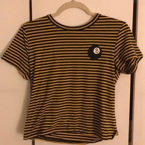 Black and Yellow Urban Outfitters cropped t-shirt